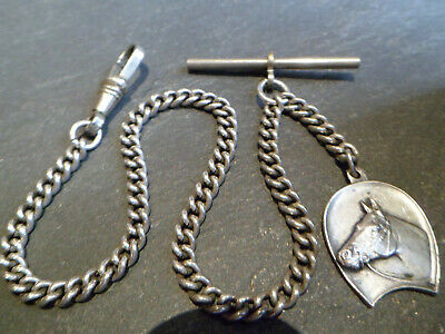 Antique Silver Plated Albert Pocket Watch Chain and Solid Silver Horse Shoe Fob