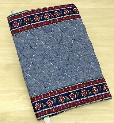 Vera Bradley Vintage Book Cover in Chambray Blue Design with Indiana Tag
