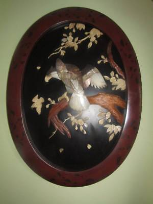 Superb Large Antique Japanese Shibayama Meiji Plaque With Eagle