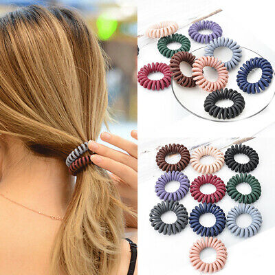 5Pcs Elastic Telephone Wire Cord Head Ties Women Hair Band Rope Ponytail Spiral