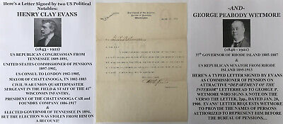 Civil War Officer Congressman Governor Tennessee Mayor Chattanooga Letter Signed