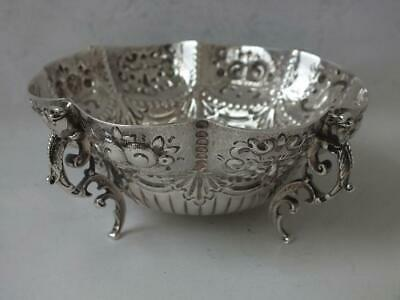 Pretty Victorian Embossed Solid Sterling Silver Bowl 1892/ Dia 10.1 cm/ 127 g