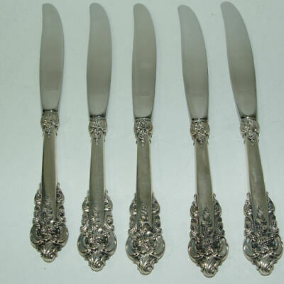 """5 Wallace Grande Baroque Sterling Silver 9"""" Dinner Knives"""