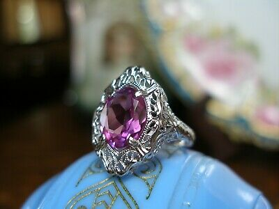 Antique White Gold Filigree Pink Sapphire Ring Art Deco 1920'S Solid 10K Wg