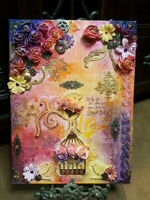 "Stand Out bird floral Mixed Media Alcohol Ink 16x12"" Canvas Wall Art Painting"