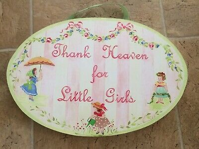 Thank Heaven For Little Girls Nursery Decor Wall Hanging Pink Green