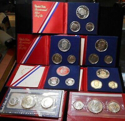 Lot of (7) Bicentennial 1776-1976 40% Silver Mint (2) and Proof (5) Sets
