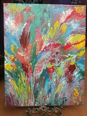 Abstract original acrylic pour painting canvas fluid art painting 20x16 Wall art