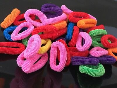 Pack Of 50 Assorted Colours Girls Baby Toddler Kids Elastic Hair Bands Bobbles