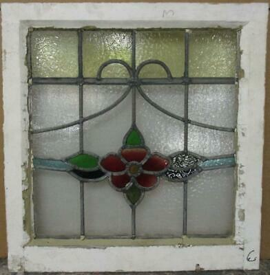 "OLD ENGLISH LEADED STAINED GLASS WINDOW Floral Band & Sweep 20.5"" x 21.25"""