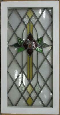 "MIDSIZE OLD ENGLISH STAINED GLASS WINDOW Diamond Leaded Floral 16.25"" x 31.5"""