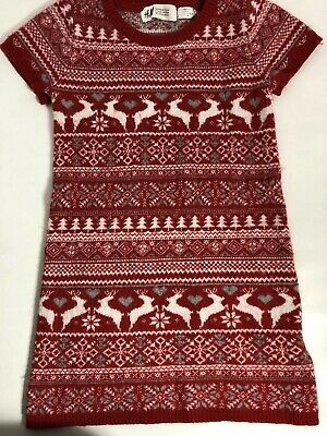 H&M Girls Red And White Reindeer Sweater Dress Size 4-6 Snowflakes Hearts Trees