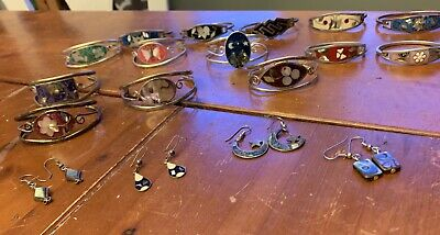 Large Lot Of 17 Vintage Mexican Alpaca Jewelry Silver Mother Of Pearl Inlay