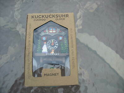 miniature cuckoo style wall clock girl dog  magnet back Germany new in box