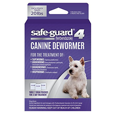 Safe-Guard 4 Canine Dewormer - 3x2 gram pouches - New In Box
