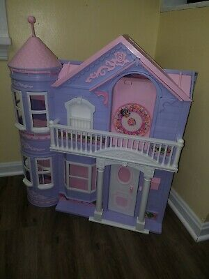 BARBIE Doll Dollhouse VICTORIAN DREAM HOUSE Working Elevator Purple Pink Roof