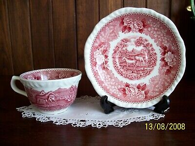 Adams Scenic Pink Cup And Saucer, Horses, Made In England, Lovely Condition