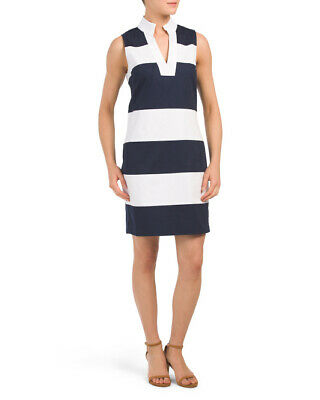77d99dcece9d SAIL TO SABLE Striped Navy/White Sleeveless Tunic Shift Dress MSRP $198 NWT