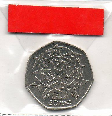 GREAT BRITAIN 50p pence coin 1998 25th Anniversary of UK in European Union