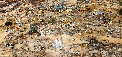Huge Lot Of 81 Pairs Vintage Mostly Rhinestone Earrings Plus Singles Some Signed