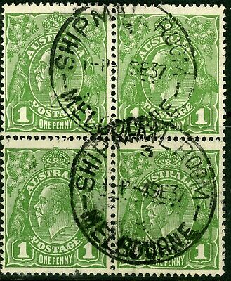 Australian KGv One Penny Green C of A Watermark Used block of 4