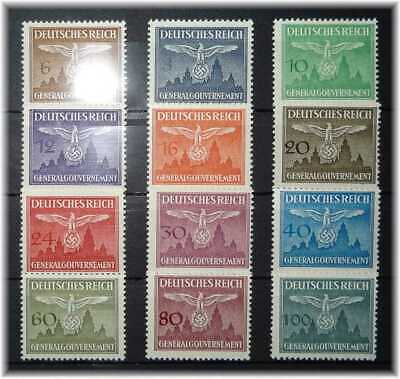 #49 German Occup. in WW2 of Generalgouvernement Castle Krakau+Eagles 25-36 MNH**