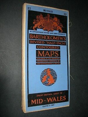 BARTHOLOMEW'S June 1951 Revised HALF INCH CLOTH CONTOURED MAP MID WALES No.22