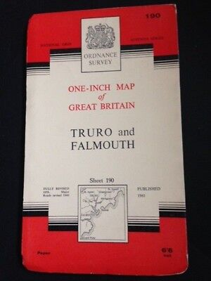 TRURO and FALMOUTH Cornwall Ordnance Survey Paper MAP 1961 SHEET 190 One Inch
