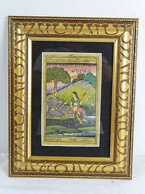 RARE  Antique Hand Painted Persian Mogul Book Plate hand Painted Provenance back