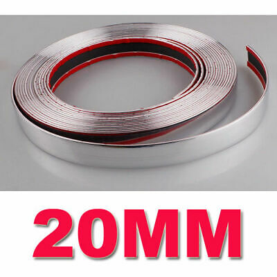15M Voiture Chrome Moulure Bande Auto-Adhésif Auto Flexible 20MM DIY Hot