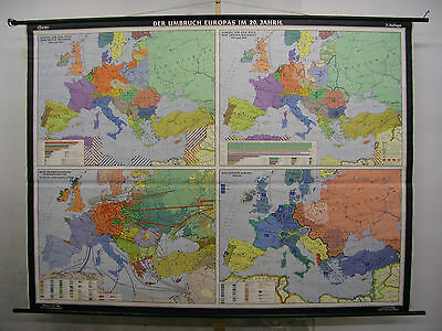 Schulwandkarte Map Europe 20.JH War Tot WWI WWII Ca 1964 239x178 Card