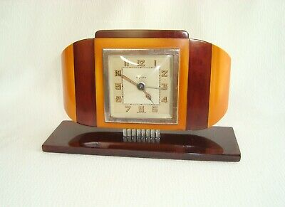 Art Deco French 2 Color Yellow Amber Bakelite Bayard Alarm Clock