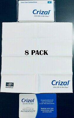 8 CRIZAL Large Sealed Microfiber Cleaning Cloth Glasses Phone Lens Sunglasses