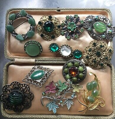 Large Lot Of Vintage Brooches Greens czech Mixed Era