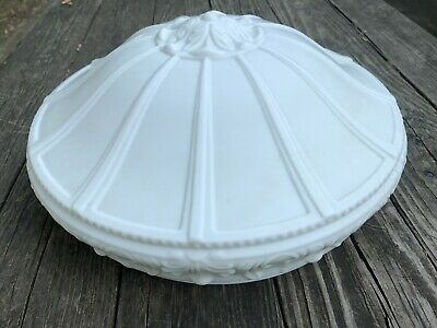 Antique Art Deco Frosted Milk Glass Inverted Bowl Chandelier Shade 14 Inches