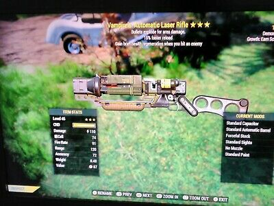 Fallout 76 xbox one 3* Vampires Explosive Laser Rifle Max Lvl