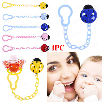 New Toddler Baby Ladybug Dummy Pacifier Clip Chain Holder Soother Nipple Strap