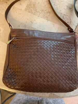 6f6060cb7a Cole Haan Brown Woven Leather Crossbody Shoulder Bag - Preowned.