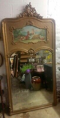 Antique French Louis Xv Trumeau Mirror