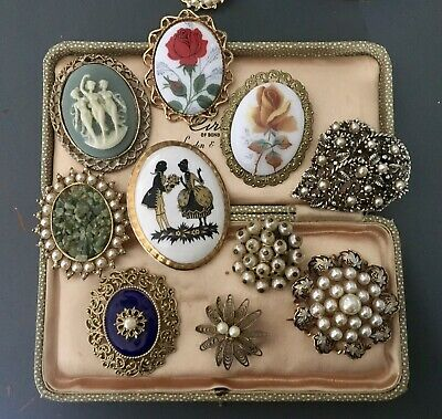 Large Lot Of Vintage Brooches Cameo Silhouette Pearl Mixed Era
