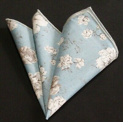 Hankie Pocket Square Cotton Handkerchief Dusty Blue with floral CH261