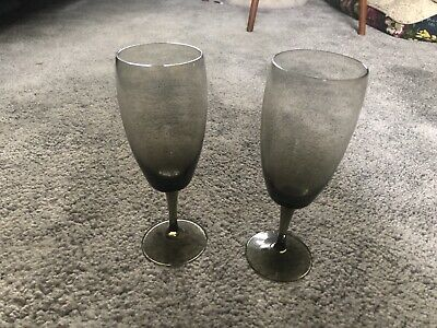 Pair Of Vintage Smoked Glass Champagne Glasses