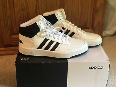 official photos 55548 3597d Mens Adidas Hoops 2.0 Mid Basketball Shoes White Black Navy 100% Original  SZ 10