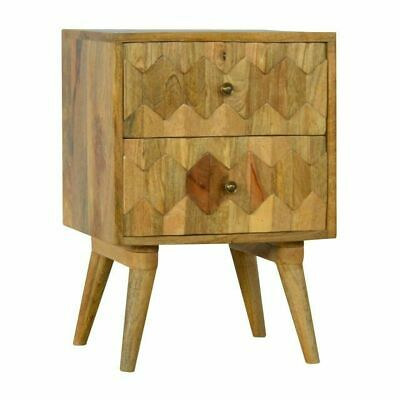 Scandinavian Solid Mango Wood Bedside Table 2 Pineapple Carved Drawers Shelf