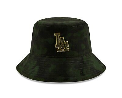 new product b3765 2c58c Los Angeles Dodgers New Era 2019 MLB Armed Forces Day Bucket Hat - Camo