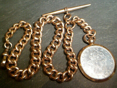 Antique 9ct Rose Rolled Gold CHUNKY Albert Pocket Watch Chain + Coin Fob