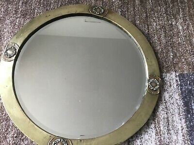 Arts & Crafts Round Hammered Brass Bevelled Mirror