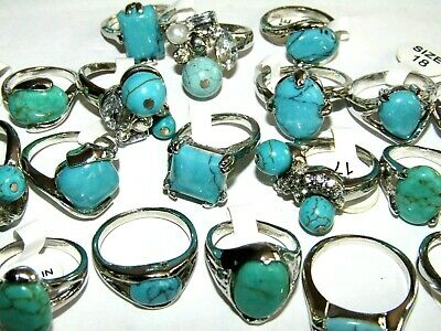 Selection Of Silver Plated Turquoise Rings Assorted Sizes And Styles