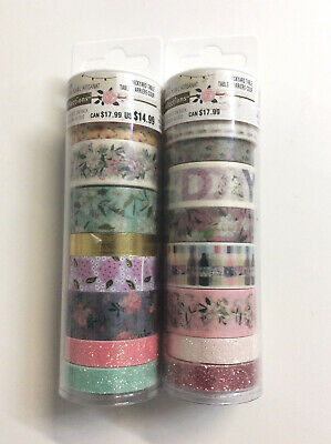 Recollections Assorted Washi Craft Tape Floral 16 Rolls Pink Purple Blue Green