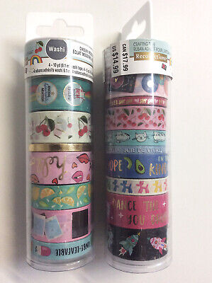 Recollections Assorted Washi Craft Tape Cheeky 16 Rolls Pink Purple Green Blue